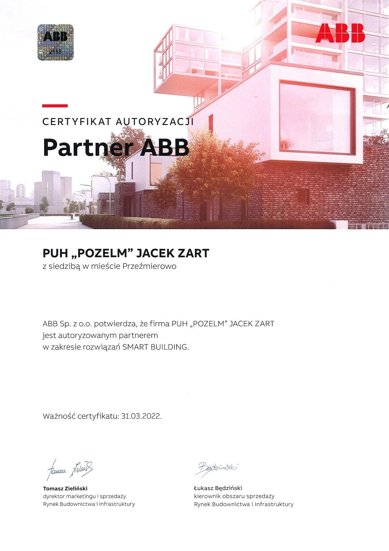 Certyfikat ABB Pozelm - 2022